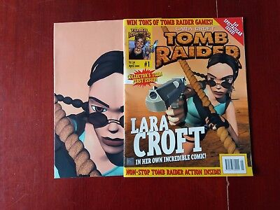 Lara Croft Tomb Raider Large First Issue Comic With Free Poster Mint Condition.