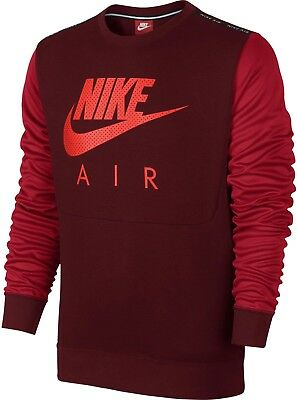 1bfc16072 Nike Men's Air Hybrid Fleece Crew Neck Sweatshirt Top In Red 875060-672