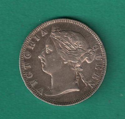 Straits Settlements 20 Cents 1896 Silver British Crown Colony Q Victoria Coin