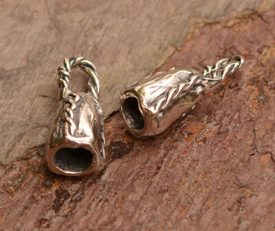 Artisan Sterling Silver End Caps, Fit 4mm Leather Cord, Pair, BC-575