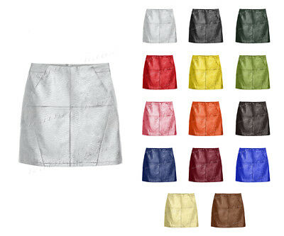 Luxury Genuine Leather Lady Front Diagonal Zip Office Lady Club Mini Skirt #S36
