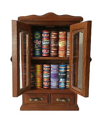 beautiful wooden n glass armoire for 12 for our miniature standard books 2 doors