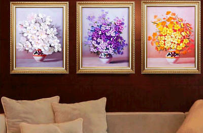 Finished HANDMADE 3D Satin Ribbon Art Embroidery Flower Floral Home Wall Decor
