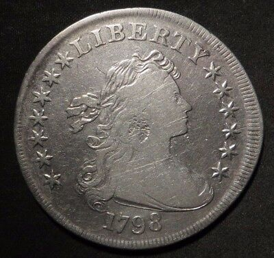 1798 Pointed 9 Bust Dollar 1¢- G/VG Cleaned