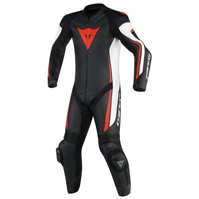 Dainese Assen 1 Piece Perforated Leather Motorbike Suit Black / White / Fluo Red