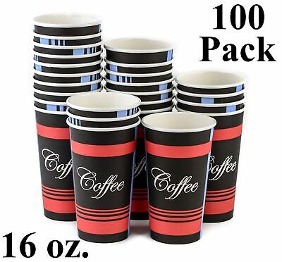 100 Pack 16 Oz. Eco Friendly Poly Paper Disposable Hot Tea Coffee Cups (No Lids)