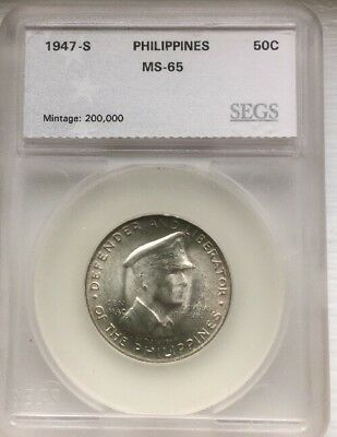1947 S Philippines 50 Cents MS65 SEGS Graded Toning Beauty General MacArthur
