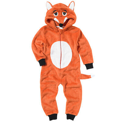Boys Fox Striped Onezie Fleece Hooded Novelty Character Jumpsuit Playsuit 2-13yr