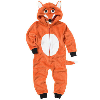 World Book Day Boys Fox 1Onesie Onezi Fleece Hooded Novelty Character Jumpsuit