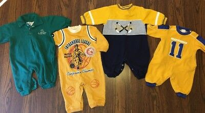 Lot Of 4 Baby Boy Sleepers Size 3 Months/3-6 Months