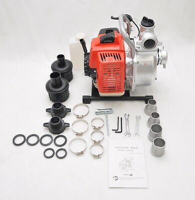 Gas Powered Flood Water Removal Pump, 3hp 63cc Engine, 1.5 - 2 in Inlet & Outlet