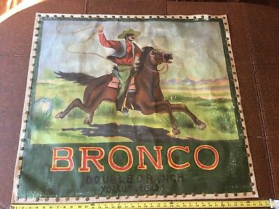Rare Oil On Canvass Advertising for The Double D Ranch Texas, Western Bronco