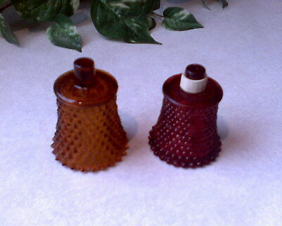 2 Candle Holders Sconce Cups: 1 *homco* Amber Diamond & 1 H.k. Red Hobnail Glass