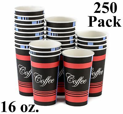 250 Pack 16 Oz. Eco Friendly Poly Paper Disposable Hot Tea Coffee Cups (No Lids)