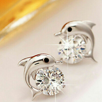 Womens Dolphin Earrings 925 Sterling Silver Plated Jewellery Studs Crystal Gift