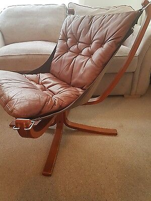 Sigurd Ressell Falcon Low Back Antique Vintage Retro Brown Leather Chair.