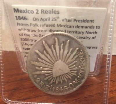 Mexico 1846 Silver 2 Reales Silver Coin ZS W History Mexican-American War
