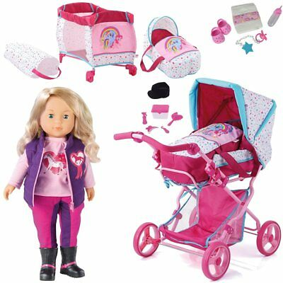 Doll Pram Pony Design Pink + Doll CHARLENE Can Speak +Diaper+ Travel Cot NEW