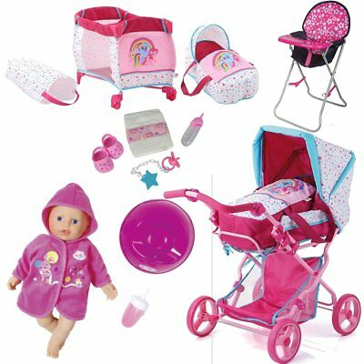Doll Pram Pony Design Pink + Little Baby Born +Bottle+ Travel Cot + High Chair