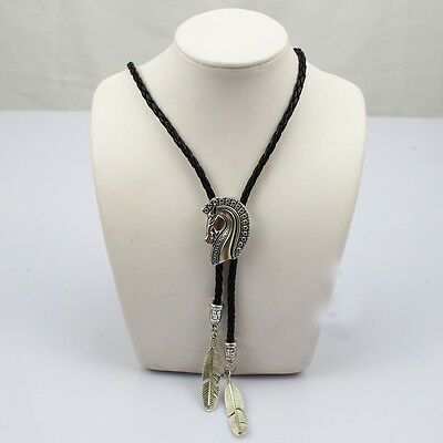 Rodeo Dance Horse Bolo Bola Ties Silver Plated Leather Tribal Indian Concho