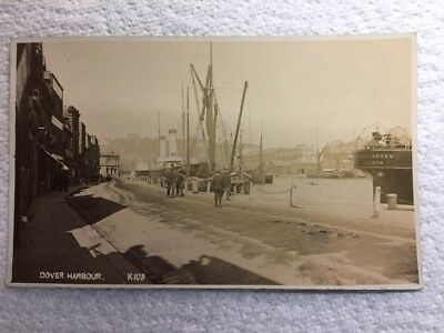 Old Postcard - Real Photo of Dover Harbour, Kent. Aft of SS Lord Warden on Right