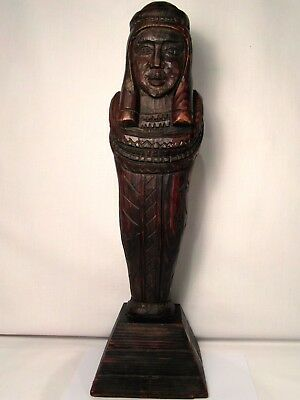 Ancient Egyptian Wood Carved Mummy Figure On Pyramid Stand! Rare Exciting Find!!