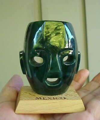Carved Mayan Mask Top Grade Canadian Bluish Polar Jade