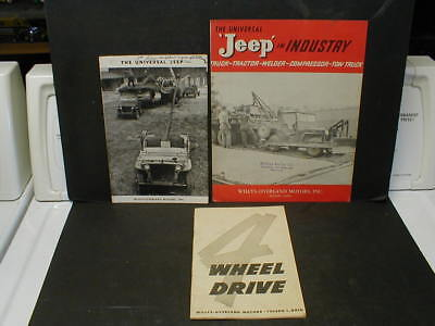 3 Factory Original Willys-Overland Universal 'jeep' Sales Booklets & Brochure