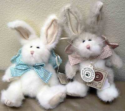 2 NWT Boyds Bears Ornaments Rabbits Hares Lil' Peach Lil' Petey Checkered Wings