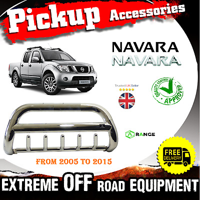 Nissan Navara 2005-15 Front Chrome High Bull Bar Nuge Bar Chrome Axle Nudge *UK