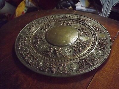 Antique Brass Highly Decorated 40Cm Plate Oriental Missing Small Panels Damaged