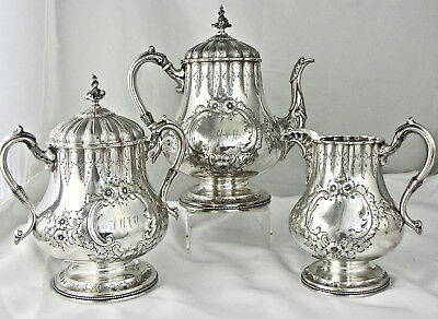 An American Coin Silver Tea Set Of The Highest Quality, Circa 1855