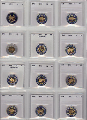 Almost Complete Collection Of Proof Two Dollars ( Toonie )...one Missing