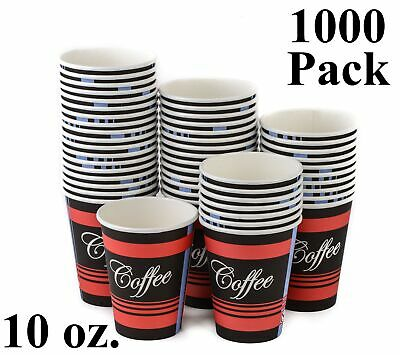 1000 Pack 10 Oz. Eco Friendly Poly Paper Disposable Hot Tea Coffee Cups No Lids