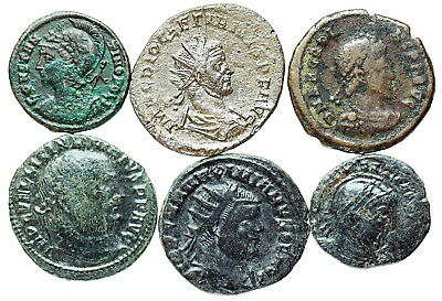 Six unidentified Late Roman bronze coins