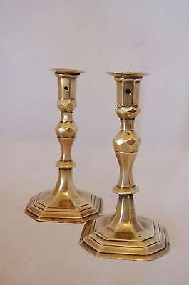 French Faceted Brass Candlesticks C. 1700