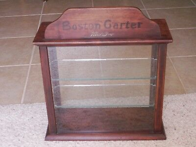 antique Russell & Sons store display case cabinet Boston Garter men's baseball