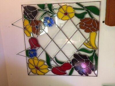 Large Antique 3 ft x 3 ft Architectural Salvage Stained Glass Pane, Superior,WI