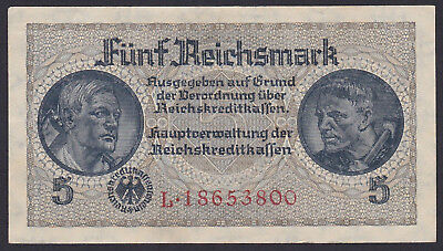 5 Reichsmark WWII 7 and 8 digit serial 2 pcs 1940-1945 Germany B40