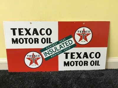 "Vintage Scarce Texaco Insulated Motor Oil 21 1/2"" Porcelain Metal Gasoline Sign!"