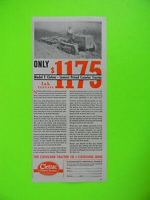 1936 Model E Cletrac - Lowest Priced Crawler Tractor Photo Ad