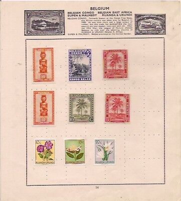 6 RUANDA URUNDI + 3 BELGIAN CONGO stamps on an album page.