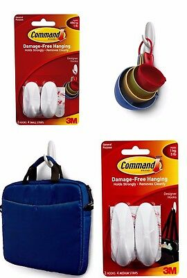 3M Command Small Medium Designer Hooks with Command Adhesive Strips Damage Free