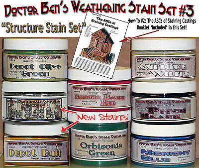 Weathering Stain Set #3-Doctor Ben's STRUCTURE SET 8-4oz Jars READY-TO-USE oss01
