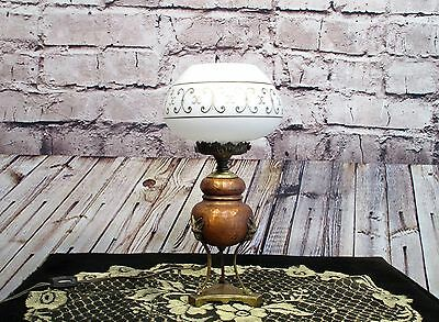 Antique Vintage Table Lamp Rams Head Copper Brass Glass Shade Little Lamp