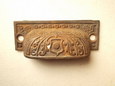 Victorian Cast Iron Cabinet drawer Bin Pull Cup handle