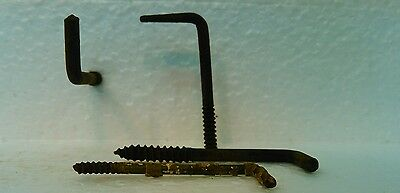 Original rustic antique vintage primitive wall screw hooks rusted hangers coat