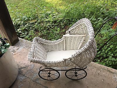 Antique Victorian White Wicker Doll Carriage