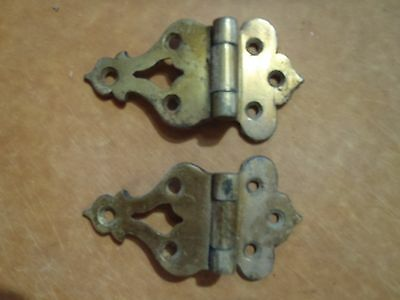 Old Antique Vintage 2 Pc Offset Ice Chest Hinges  Cast Brass