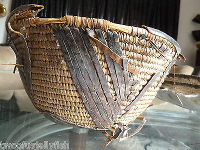 Antique African Basket/bowel Woven Has Leather On Bottom & Outside